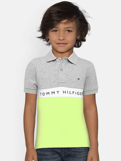 652a52be28a0 Tommy Hilfiger Boys Grey   Fluorescent Green Colourblocked Polo Collar T- shirt