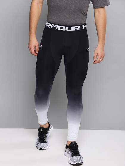 373de327b9 UNDER ARMOUR Men Black & White Curry Seamless Ombre Dyed Cropped Basketball  Tights