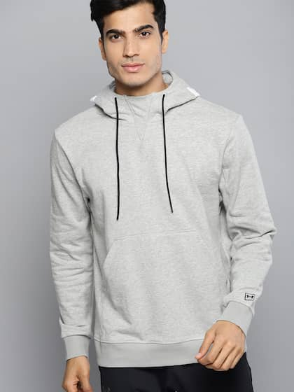 e4b4f4e63049 UNDER ARMOUR Men Grey Melange Solid Hooded Be Seen Terry Graphic Sweatshirt