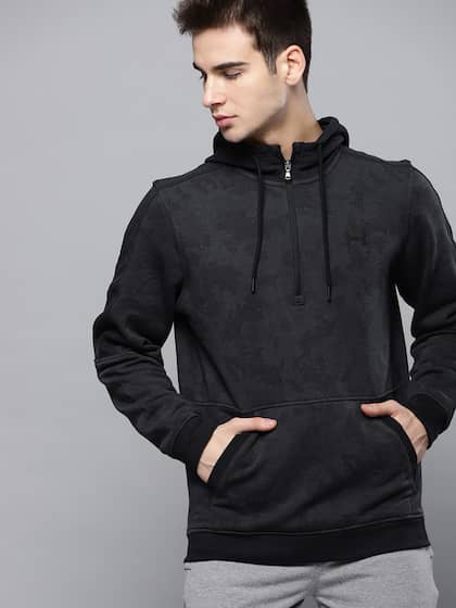 1509159f44 UNDER ARMOUR Men Charcoal Grey Microthread Fleece Camouflage 1 2 Zip Hooded  Sweatshirt
