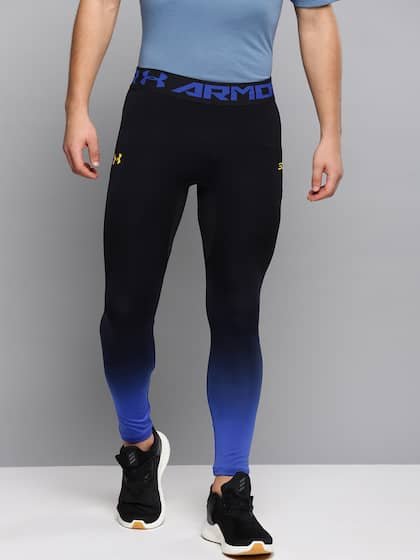 482453d1b7 UNDER ARMOUR Men Black & Blue Curry Seamless Ombre Dyed Cropped Basketball  Tights