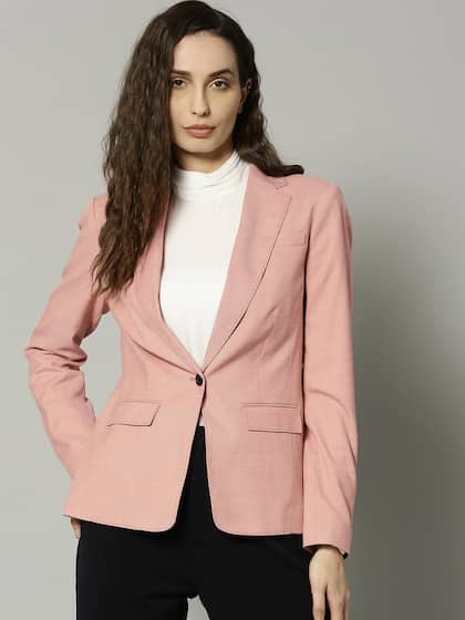 5866bfa731b33 Marks   Spencer Women Pink Solid Single-Breasted Casual Blazer