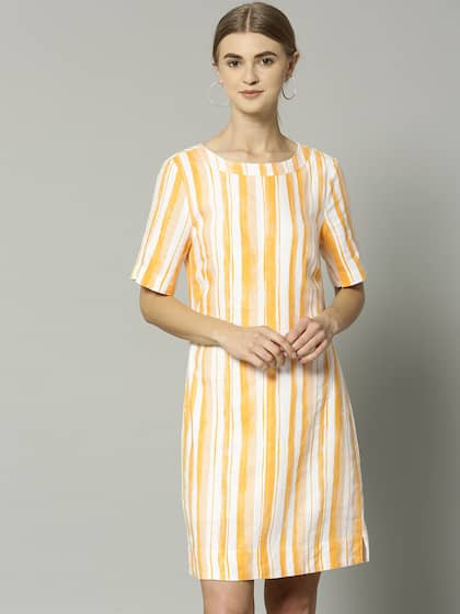 80fcd165f03 Neck. + 11 more. Marks   Spencer Women Yellow Striped A-Line Dress