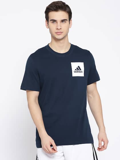 ed93af568 ADIDAS Men Navy Blue ESS Chestlogo Solid Round Neck Training T-shirt
