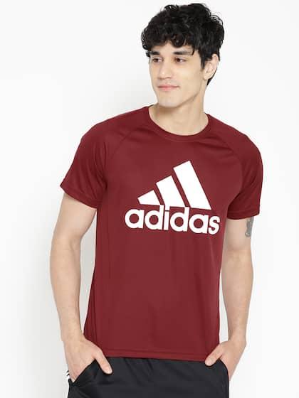 b1c1f5064 ADIDAS Men Maroon D2M Logo Printed Round Neck Training T-shirt