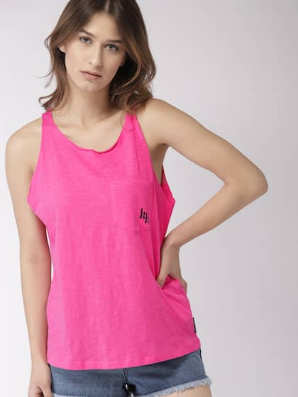 eb71a9245b Neck. + 10 more. FOREVER 21 Kendall + Kylie Women Fuchsia Solid Tank Top