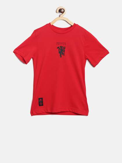 e336162ffa8 ADIDAS Boys Red Manchester United FC Graphic Print Round Neck Football  T-shirt