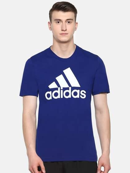 3f18f875 ADIDAS Men Blue ESS Linear Printed Round Neck Training T-shirt