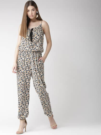 8dd32b93ee1 Coupons. QUIERO Navy Blue   Off-White Printed Basic Jumpsuit