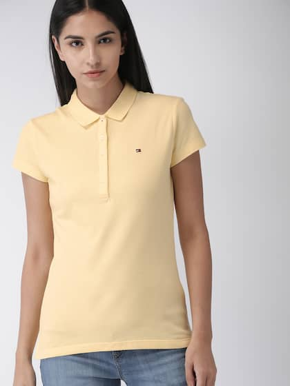 637a1e86 Neck. + 9 more. Tommy Hilfiger Women Yellow Solid Polo Collar T-shirt