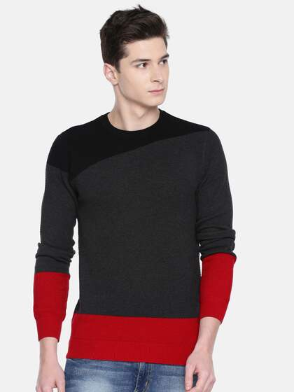e176c4dafb2 Akiva Men Charcoal Grey   Red Solid Sweater