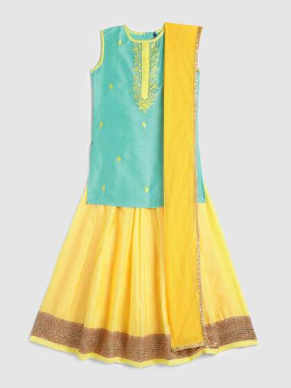 884c562bf4 YK Girls Light Green & Yellow Ready to Wear Lehenga & Blouse with Dupatta
