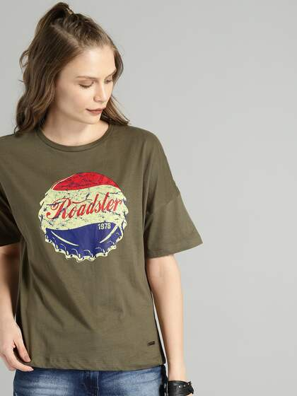 5d1dcdcc6 Roadster Women Olive Green Printed Round Neck T-shirt