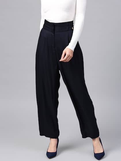 d1797ab47bc High Rise Trousers Women - Buy High Rise Trousers Women online in India
