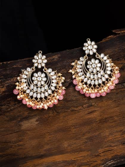 2019 New Style Traditional Ethnic Bollywood Kundan Polki Dangle Earrings Set Designer Jewellery Bridal & Wedding Party Jewelry