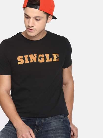 bea00bdf87 SINGLE Men Black Printed Round Neck T-shirt