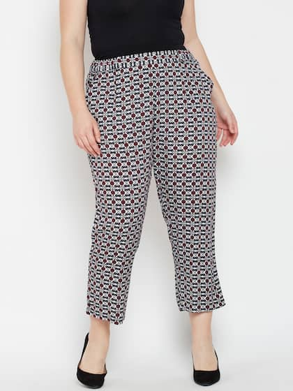 Oxolloxo Women Navy Blue & Red Regular Fit Printed Regular Trousers