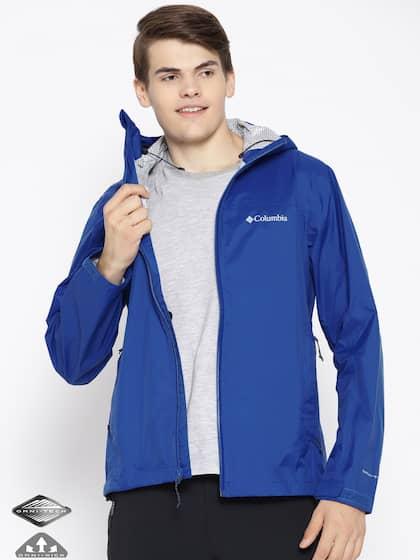 ece5ef1d9b5ecd Columbia Men Blue EvaPOURation Omni-Tech Waterproof Hooded Rain Jacket