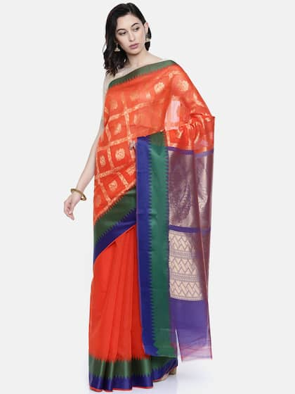 65c7a4724f30c9 Orange Saree - Buy Orange Saree online in India