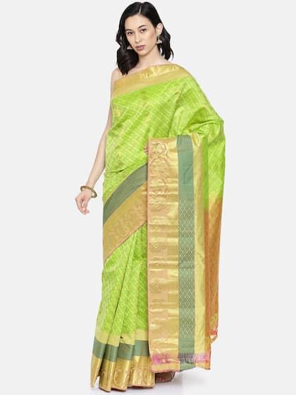 60528b618dfc01 Green Saree - Buy Green Color Sarees Online | Myntra