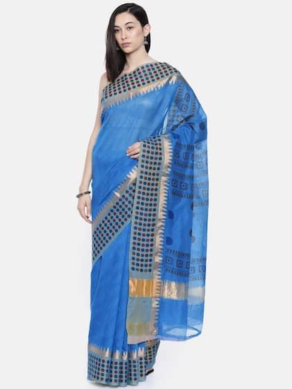 b6122fff7c461 The Chennai Silks Classicate Blue Pure Cotton Printed Chanderi Saree