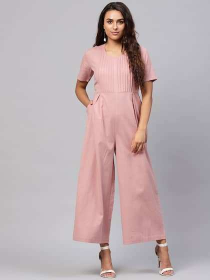 da44f803ac SASSAFRAS Dusty Pink Solid Basic Jumpsuit