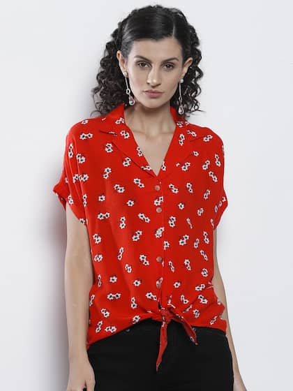 caf0a2f430 DOROTHY PERKINS Women Red   White Floral Print Casual Shirt