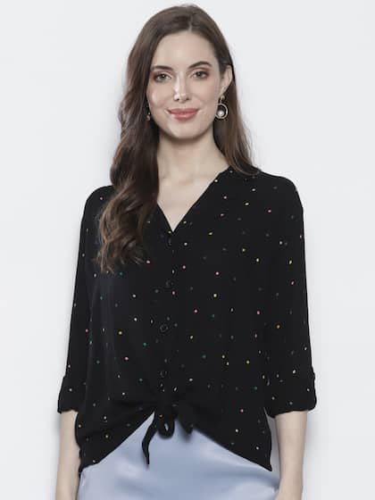 3e7cb36a212b04 DOROTHY PERKINS Women Black Regular Fit Printed Casual Shirt