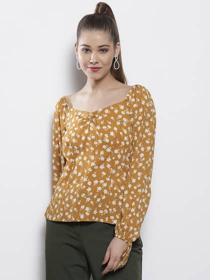 fef90a12c55 DOROTHY PERKINS Women Mustard Brown   White Printed Top