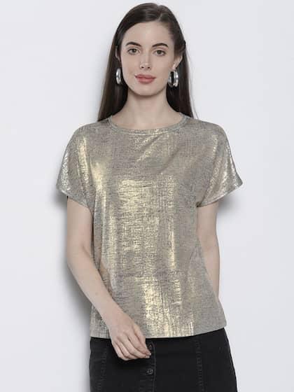 cf5d49028c502 DOROTHY PERKINS Women Golden Solid Top with Sheen Effect