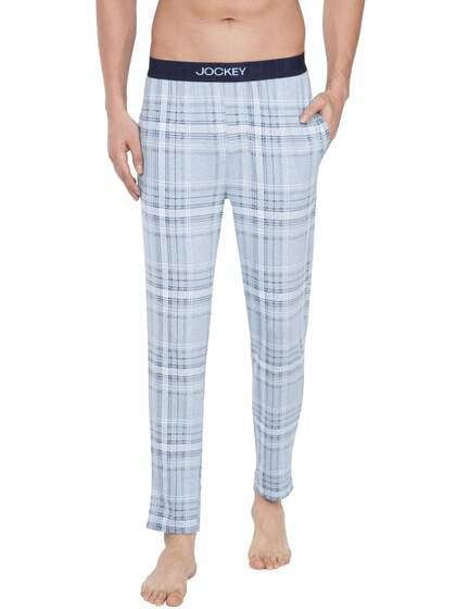 c967a9f209e3c0 Jockey Men Blue & White Checked Regular Fit Lounge Pants IM03-0103-09CLB