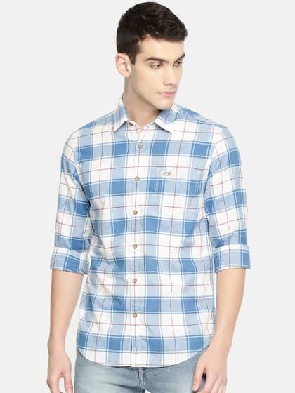 78b759b44351 U.S. Polo Assn. Denim Co. Men Blue & White Slim Fit Checked Casual Shirt