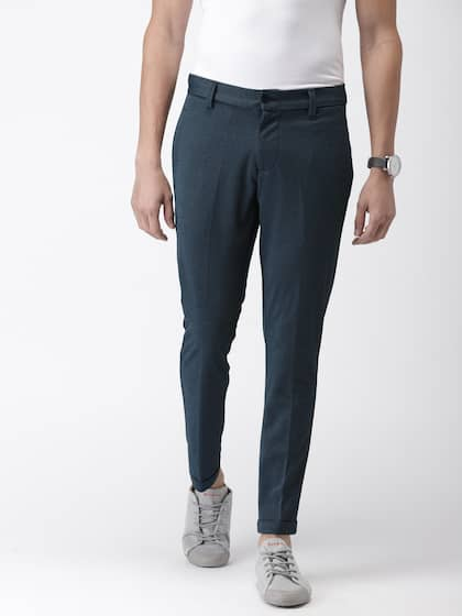 5514e4964 Mast & Harbour Men Black & Navy Blue Regular Fit Self Design Regular  Trousers