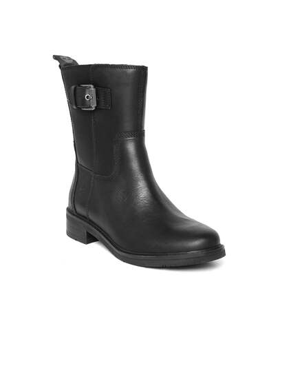 f694ea1ed96d Size. Timberland Women Black Solid Leather Chevalier Biker High-Top Flat  Boots