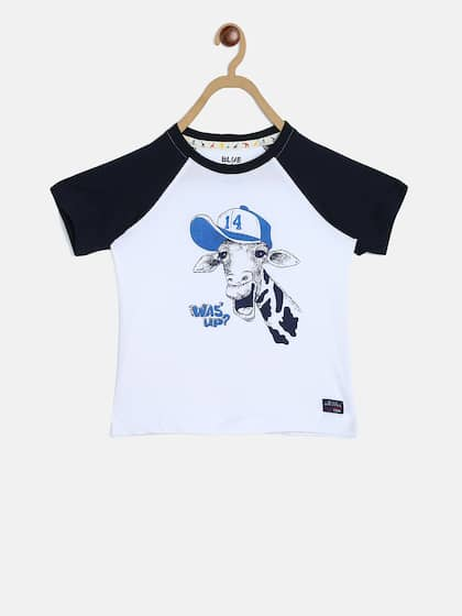 bcd00222 Blue Giraffe. Printed Round Neck T-shirt