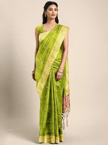e9f8d6df61 Green Saree - Buy Green Color Sarees Online   Myntra