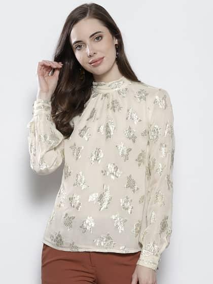 d99b7d3545b DOROTHY PERKINS Women Cream-Coloured   Silver Self Design Top