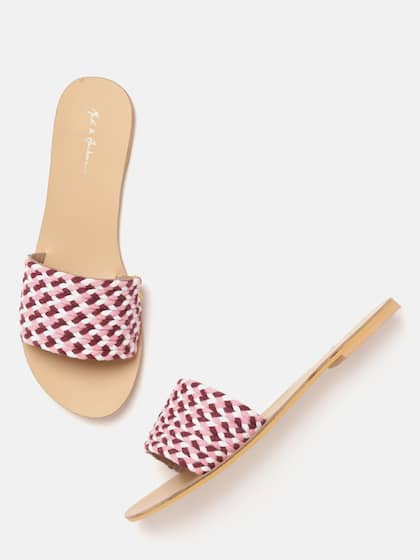 ea0c1a9cdb02e9 Mast & Harbour Women Pink & Burgundy Braided Open Toe Flats