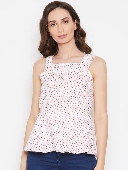f086455bfe5d0 Women Polka Dot Tops - Buy Women Polka Dot Tops online in India