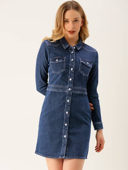 0dee4fb30df1 Denim Dresses - Buy Denim Dresses Online in India | Myntra