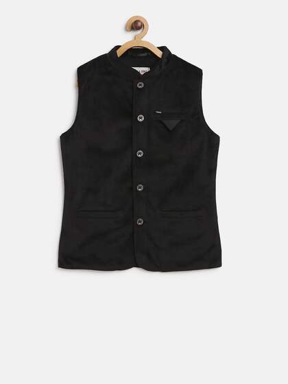 379baef54cc2d Gini & Jony Boys Black Solid Nehru Jacket with Velvet Finish
