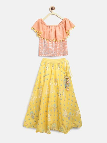 0b16c62ef4 Biba Girls Yellow & Peach-Coloured Ready to Wear Lehenga with Choli