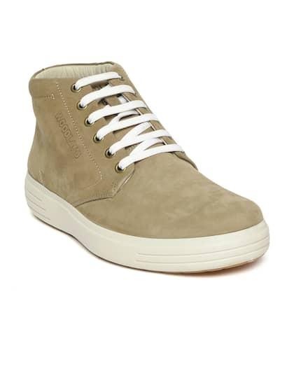 Woodland Men Khaki Solid Nubuck Leather Mid-Top Sneakers