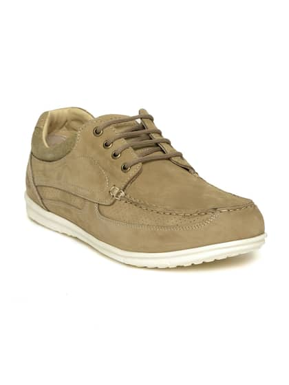 Woodland Men Khaki Nubuck Leather Sneakers