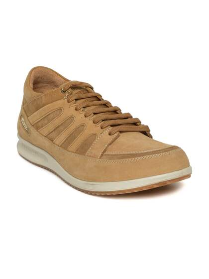 Woodland Men Camel Brown Nubuck Leather Sneakers