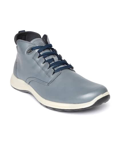 Woodland Men Navy Blue Solid Nubuck Leather Mid-Top Sneakers