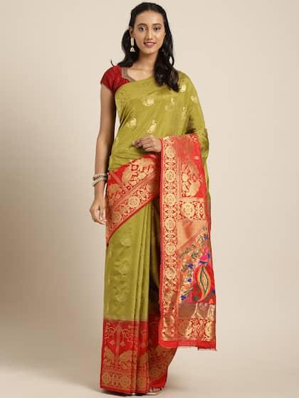 5bf25cdcef Paithani Sarees - Buy Traditional Paithani Saree Online   Myntra