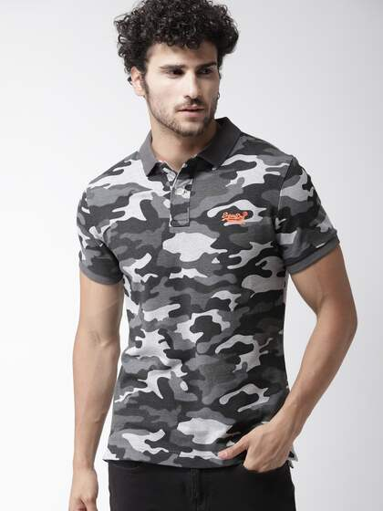 ae45c8276193 Neck. + 10 more. Superdry Men Grey Camouflage Print Polo Collar T-shirt