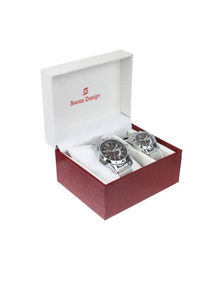 6109b07b4f3 Swiss Design Unisex Set Of 2 Analogue Couple Watches SD-703PRD2