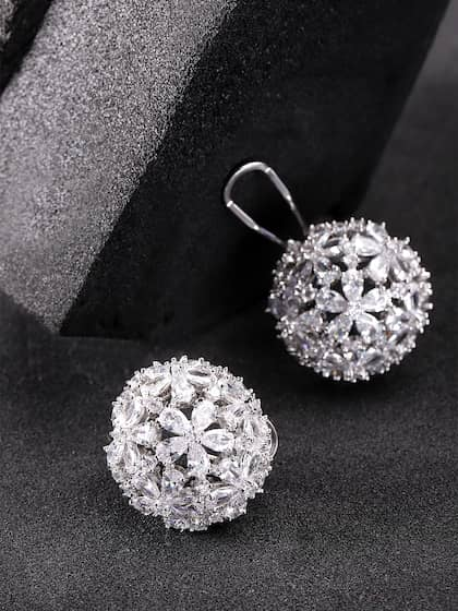 978282fad Carlton London Silver-Toned Rhodium Plated CZ Spherical Studs